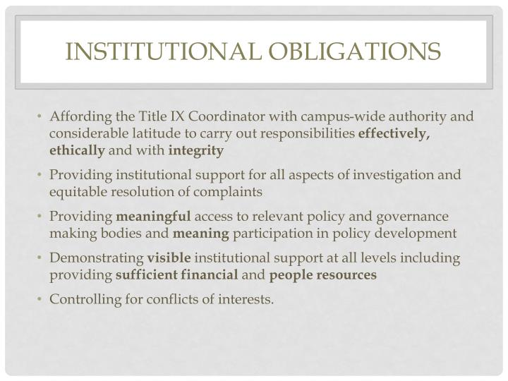 Institutional Obligations
