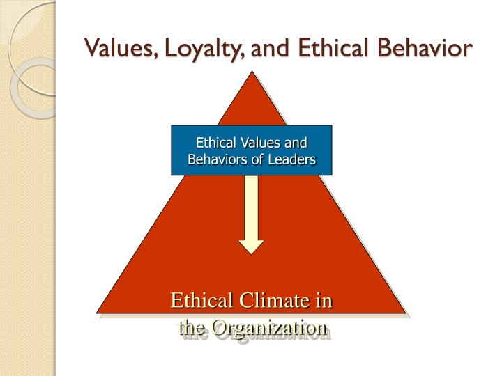 values loyalty and ethical behavior Definition of values  organizations need to identify and define a set of values that represent the ethical ideals of the organization  loyalty or the .