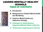leading mentally healthy schools table of contents