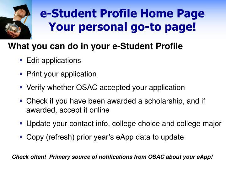 e-Student Profile Home Page