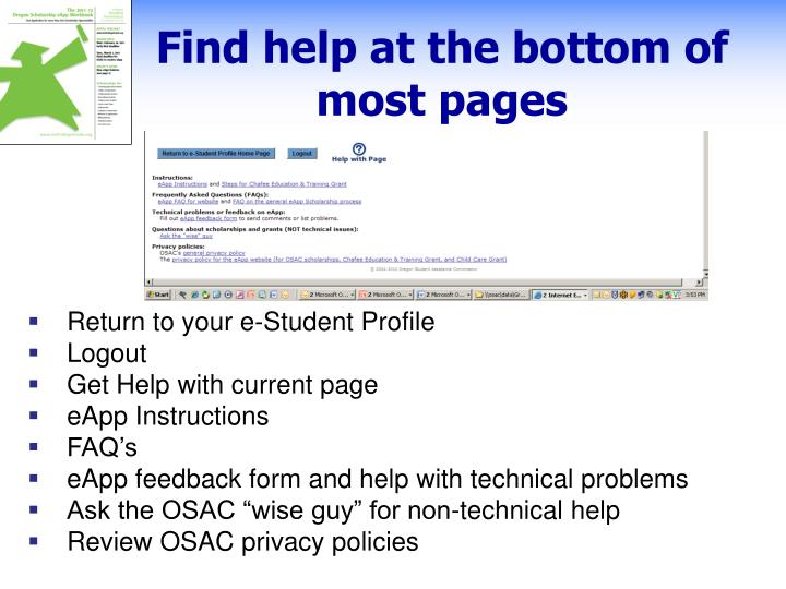 Find help at the bottom of most pages