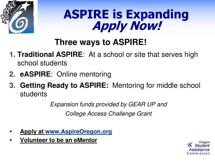 ASPIRE is Expanding
