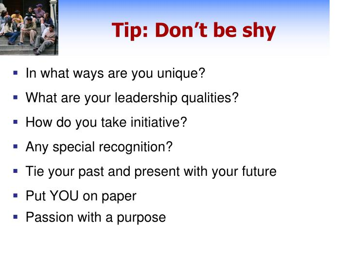 Tip: Don't be shy