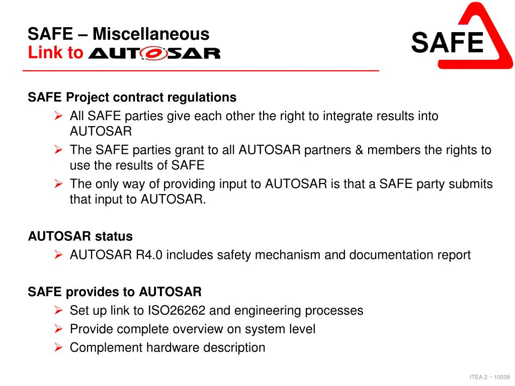 PPT - Safe Automotive soFtware architEcture (SAFE) Project
