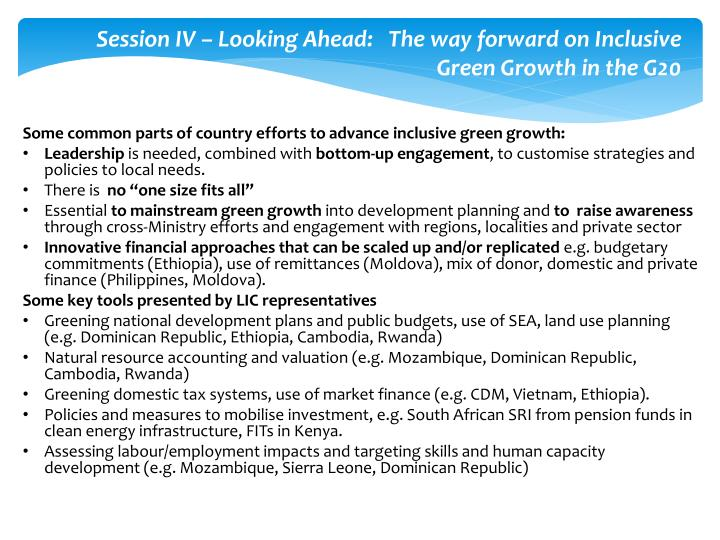Session IV – Looking Ahead:   The way forward on Inclusive Green Growth in the G20