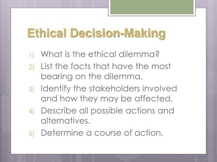 ethical decision making business Ethical decision making in international business varies depending on the culture of the country in which the business is located in this lesson, we'll discuss ways to make sure ethical practices.