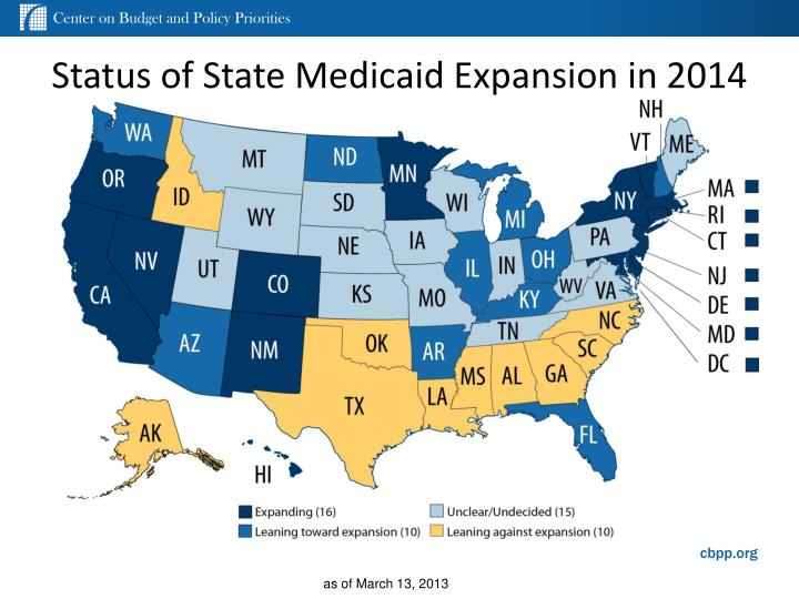 Status of state medicaid expansion in 2014