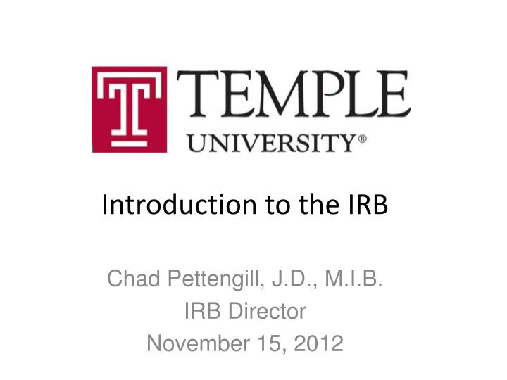 introduction to the irb n.