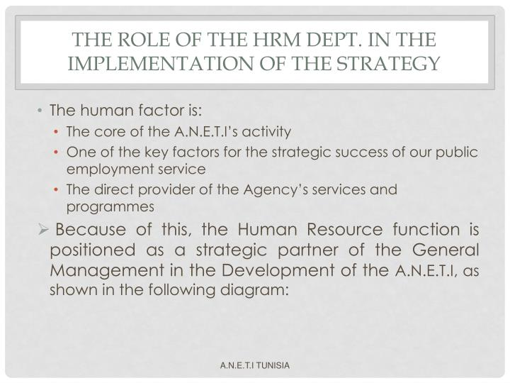 THE ROLE OF THE HRM DEPT. IN THE IMPLEMENTATION OF THE STRATEGY