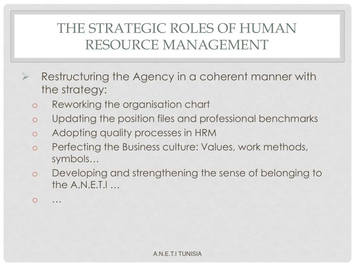 THE STRATEGIC ROLES OF HUMAN RESOURCE MANAGEMENT