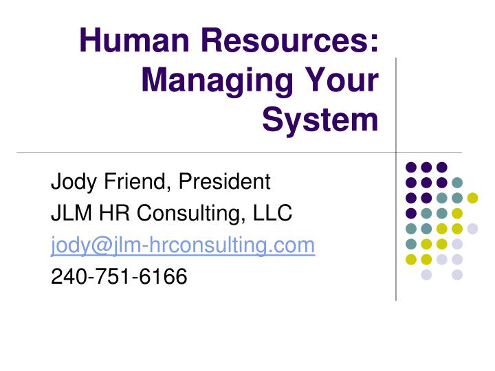 human resources managing your system n.