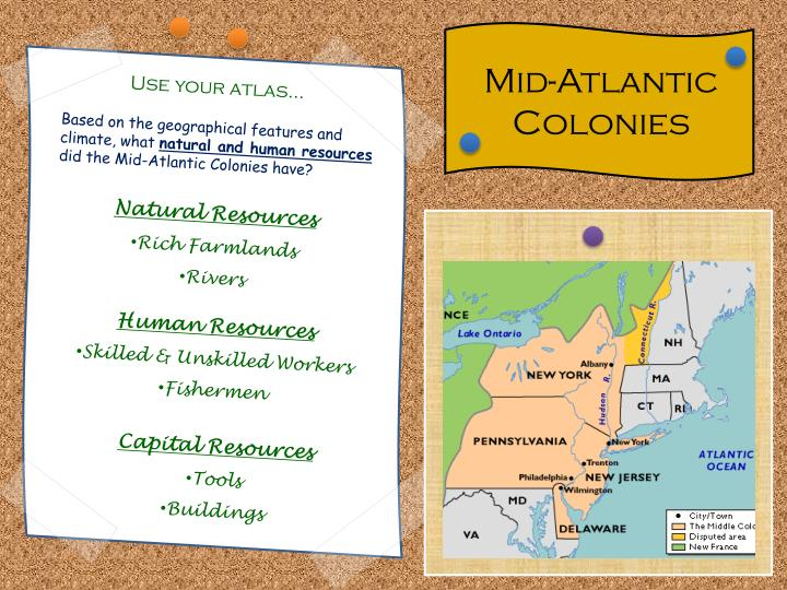mid atlantic colonies geography