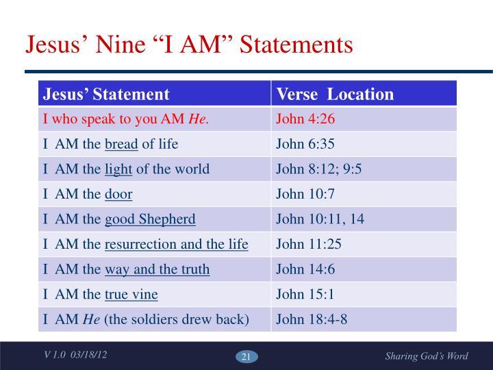 """Jesus' Nine """"I AM"""" Statements"""