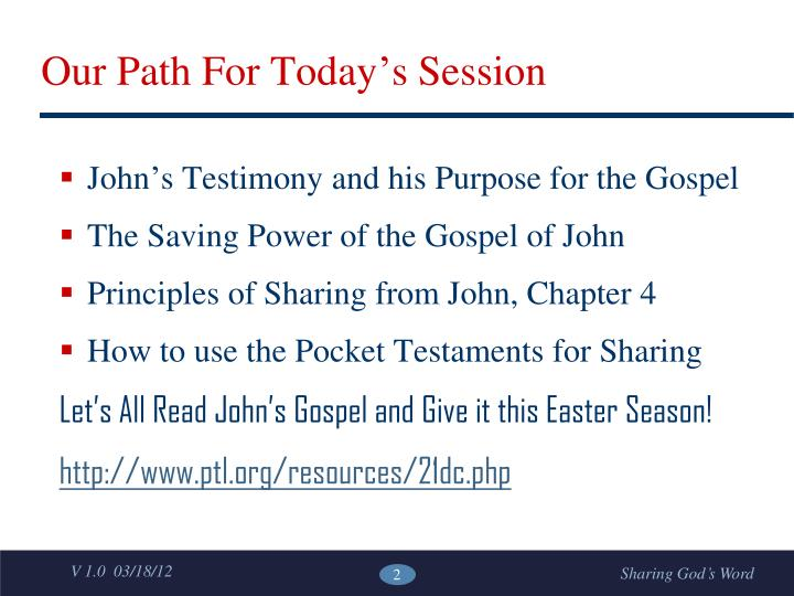 Our path for today s session