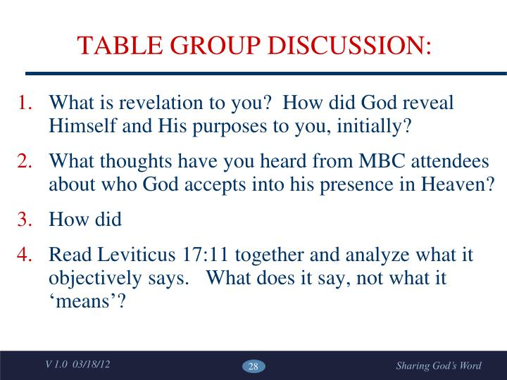 TABLE GROUP DISCUSSION: