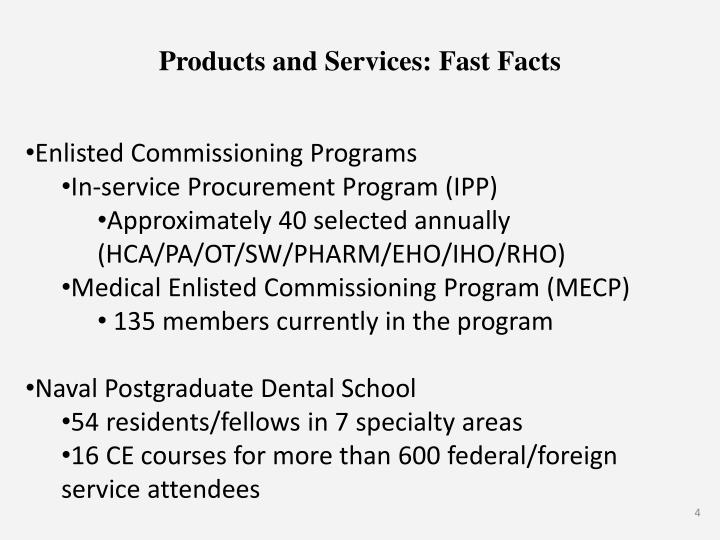 Products and Services: Fast Facts