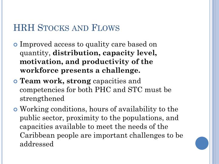 HRH Stocks and Flows