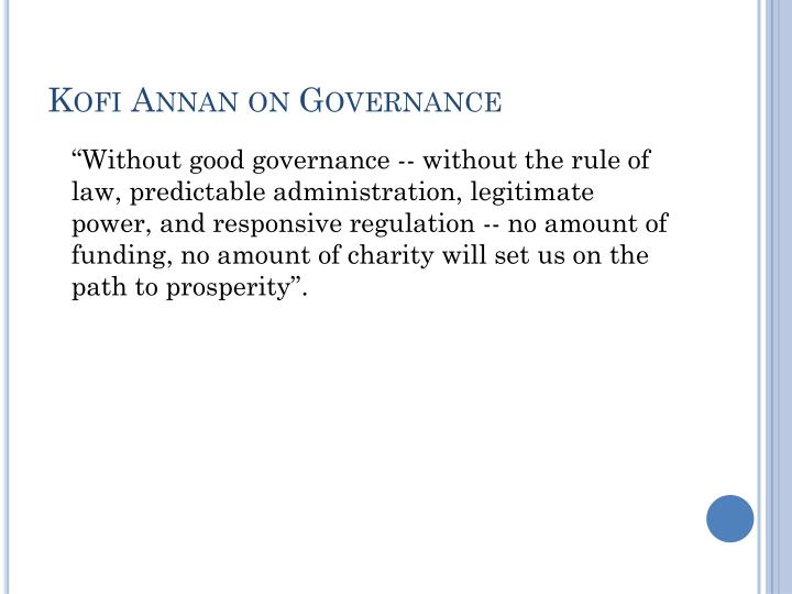 Kofi Annan on Governance