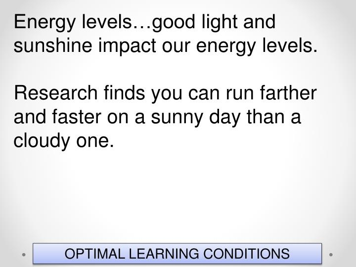 Energy levels…good light and sunshine impact our energy levels.
