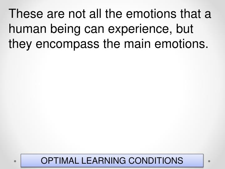 These are not all the emotions that a human being can experience, but they encompass the main emotions.