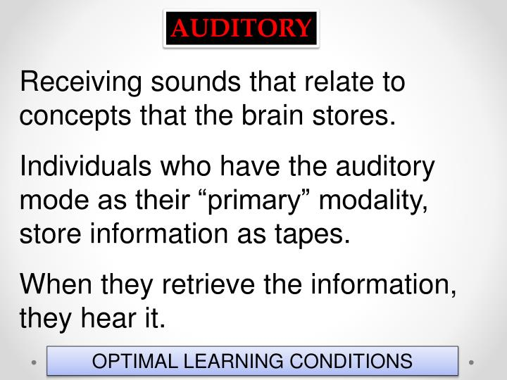 Receiving sounds that relate to concepts that the brain stores.