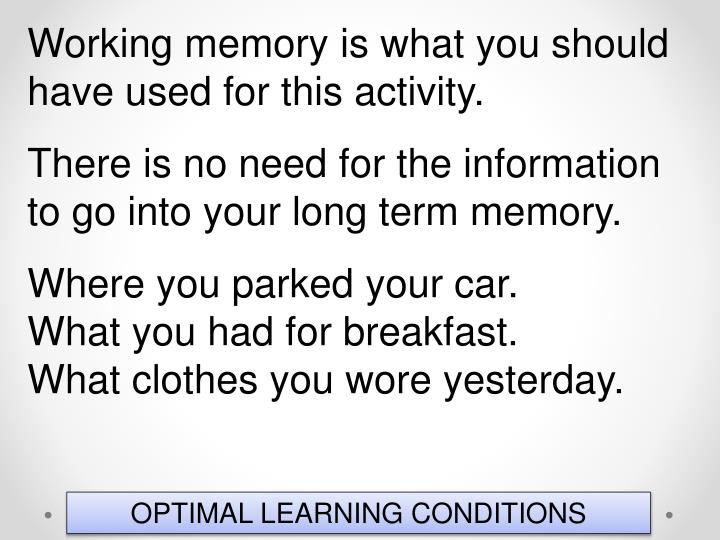 Working memory is what you should have used for this activity.