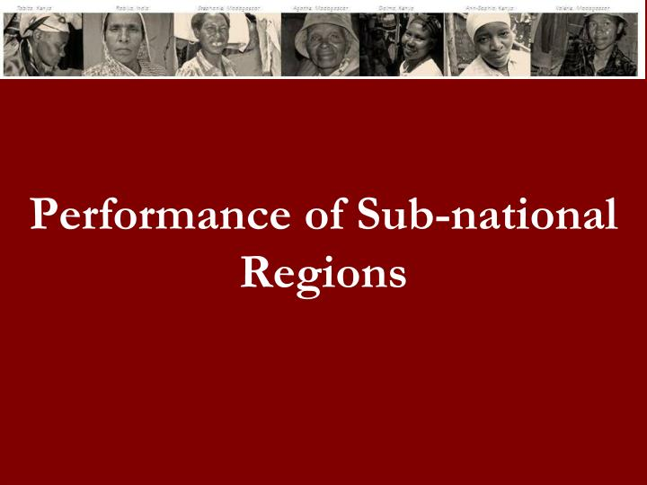 Performance of Sub-national Regions