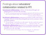 findings about educators collaboration related to rti