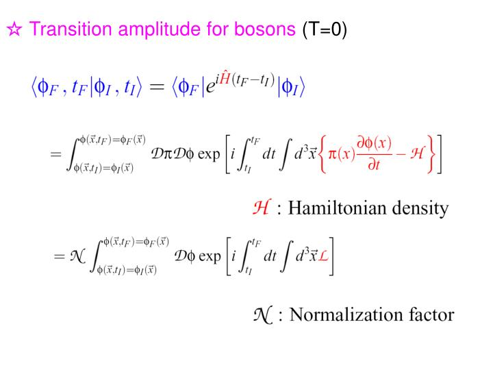 ☆ Transition amplitude for bosons