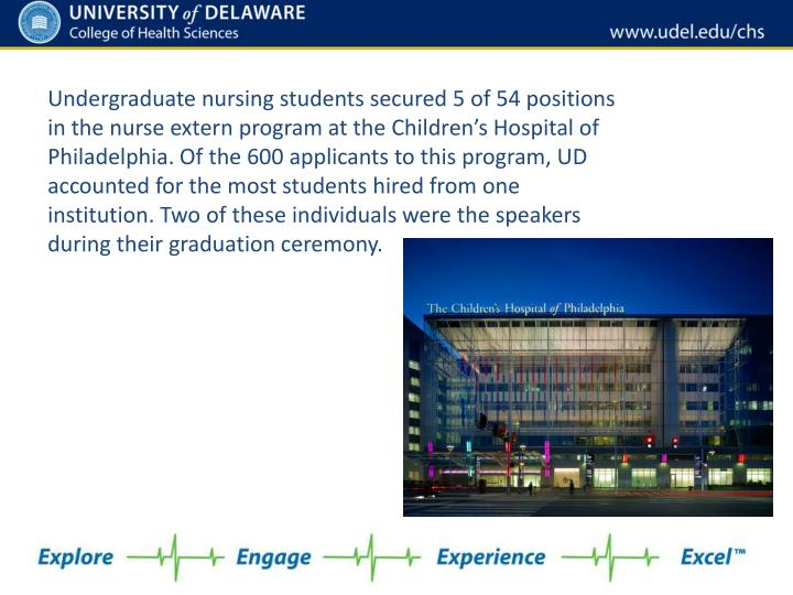 Undergraduate nursing students secured 5 of 54 positions in the nurse extern program at the Children's Hospital of Philadelphia. Of the 600 applicants to this program, UD accounted for the most students hired from one institution. Two of these individuals were the speakers during their graduation ceremony.