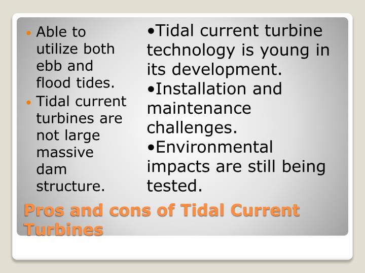 Tidal current turbine technology is young in its development.