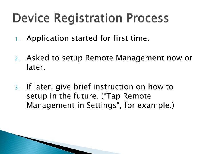 Device Registration Process