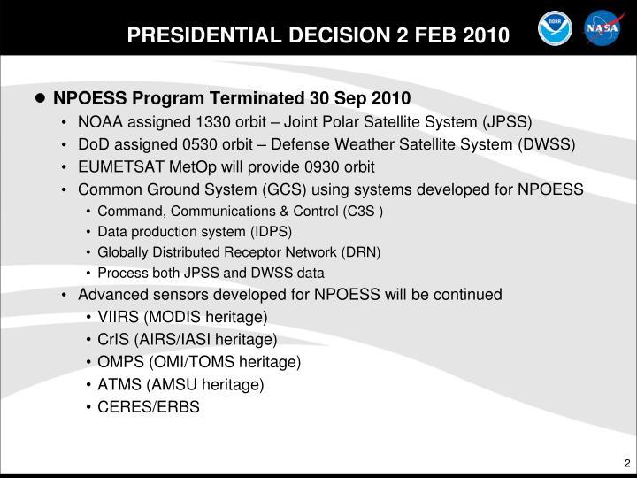 Presidential decision 2 feb 2010