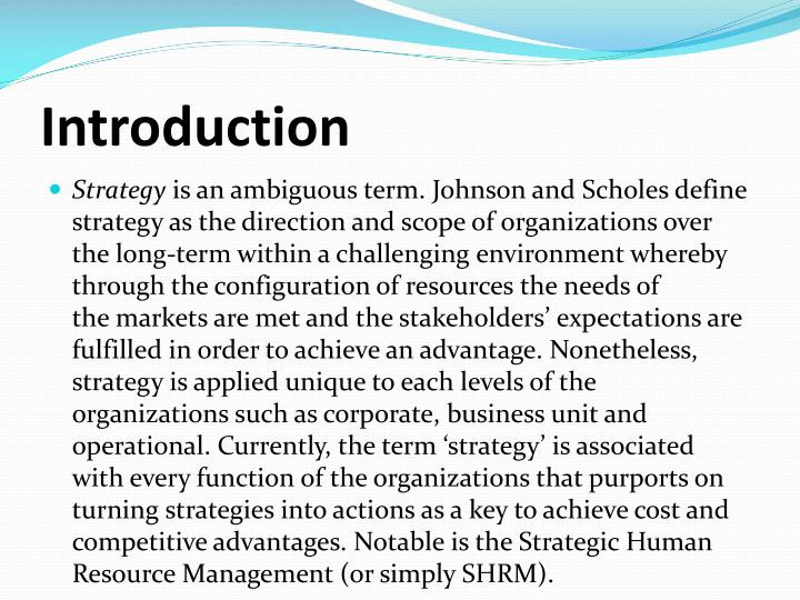 Ppt Strategic Human Resources Management Competitive Advantage