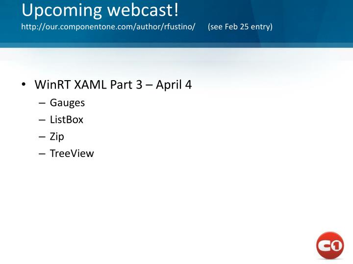 Upcoming webcast!