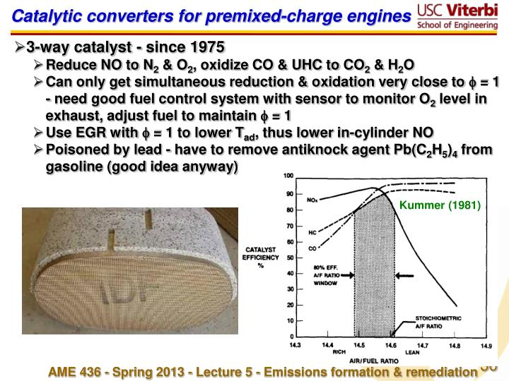 Catalytic converters for premixed-charge engines