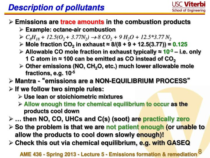Description of pollutants