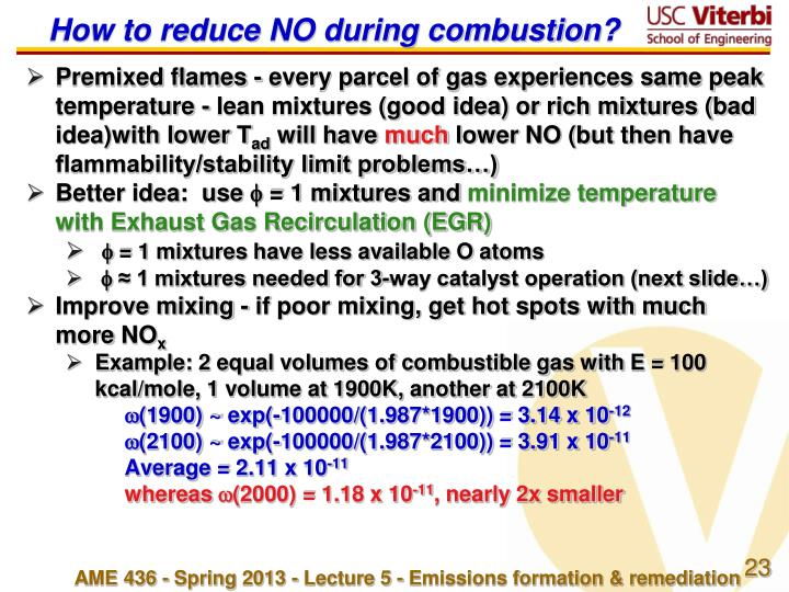 How to reduce NO during combustion?