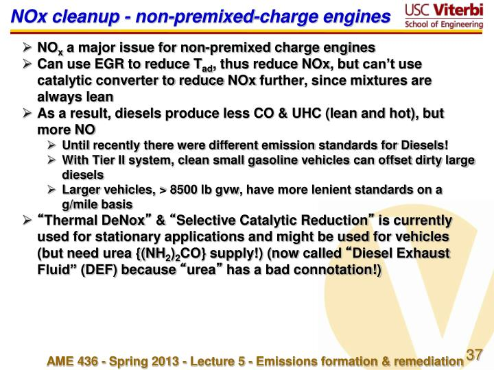 NOx cleanup - non-premixed-charge engines