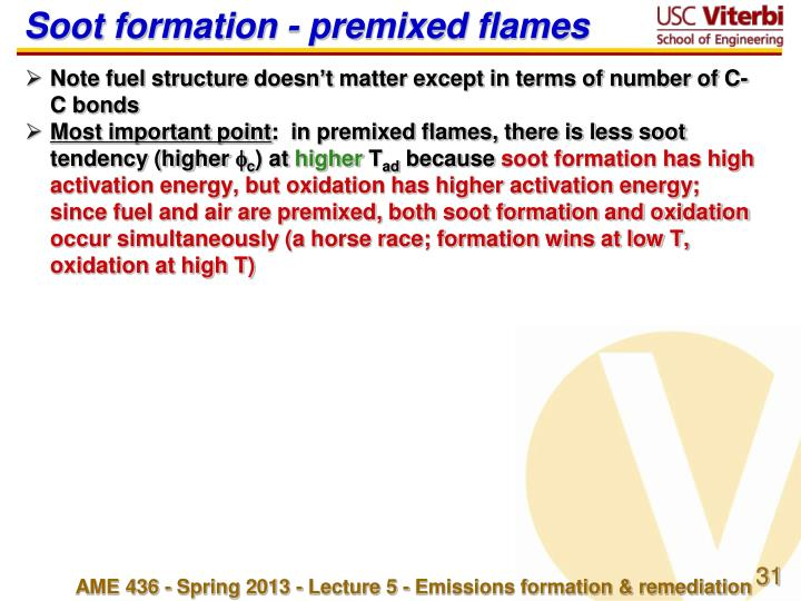 Soot formation - premixed flames