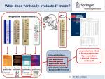 what does critically evaluated mean
