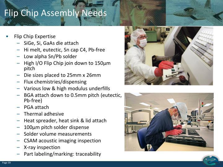 Flip Chip Assembly Needs