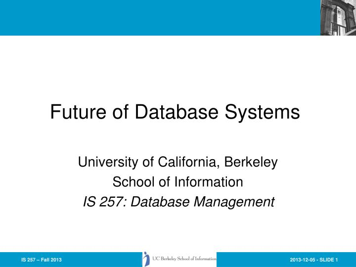 future of database systems n.