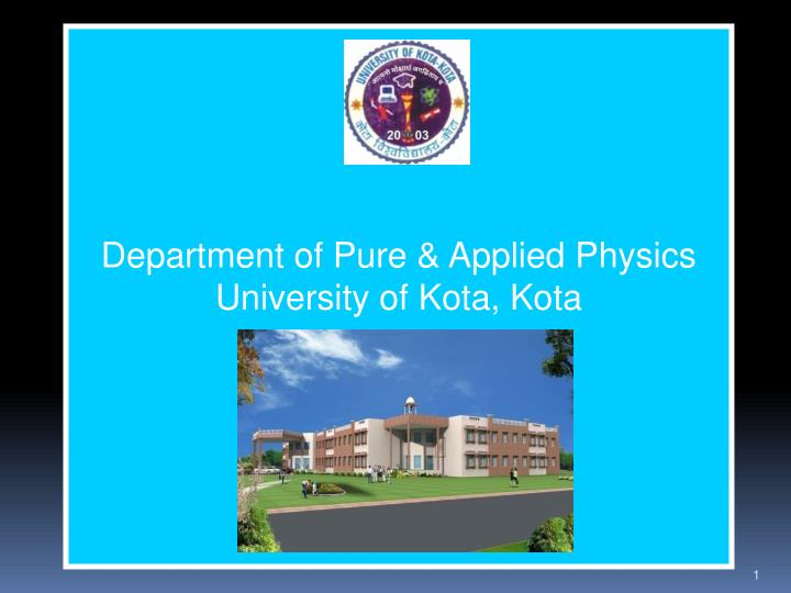 Department of Pure & Applied Physics