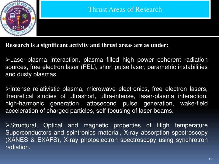 Thrust Areas of Research