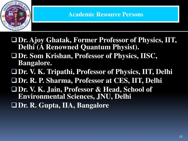 Academic Resource Persons