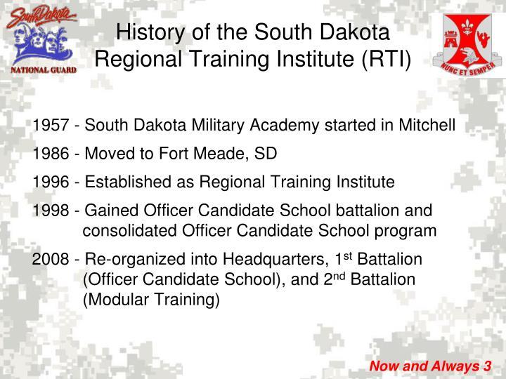 History of the south dakota regional training institute rti