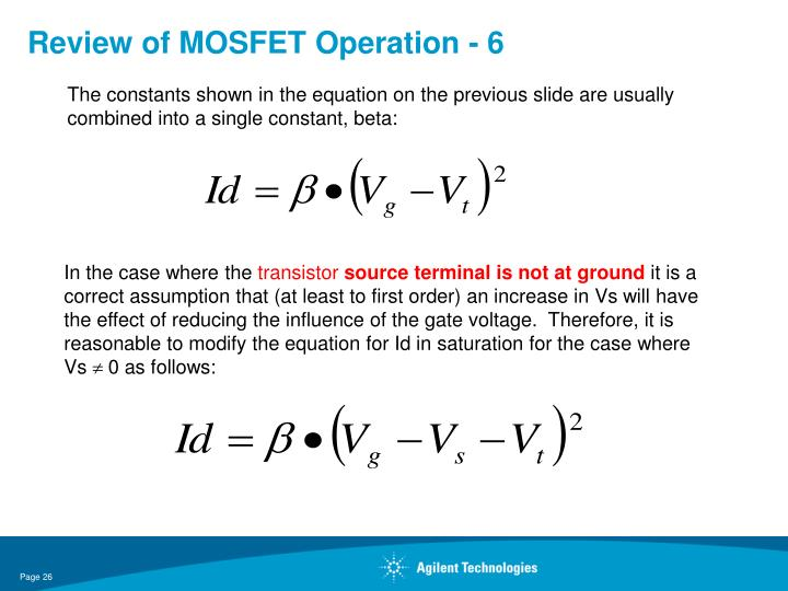 Review of MOSFET Operation - 6