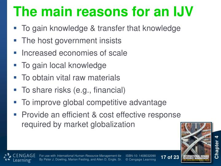 The main reasons for an IJV