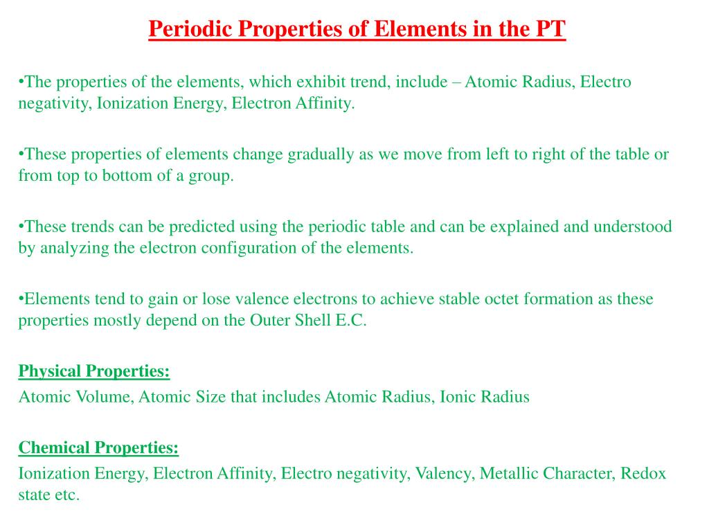 Ppt Periodic Properties Of Elements In The Pt Powerpoint